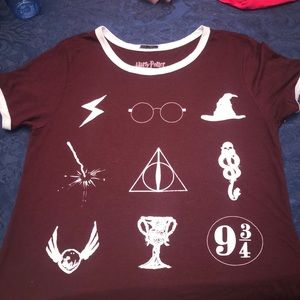 Maroon Harry Potter t-shirt. Symbols from movie.